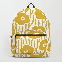 Mid Century Modern Wild Flowers Pattern Mustard Yellow Backpack