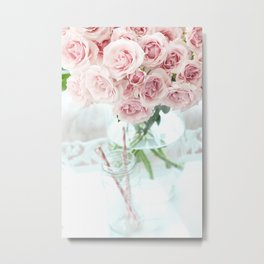 Shabby Chic Cottage Vintage Pink Pastel Roses In Clear Vase Prints and Home Decor Metal Print