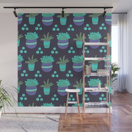 Potted Plants Pattern Wall Mural