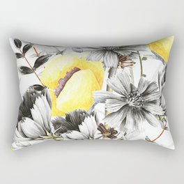 Poppies And Chicory Wildflower Bouquet Rectangular Pillow