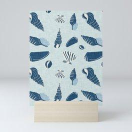 sea shell blue Mini Art Print