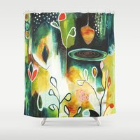 "flora bowley Shower Curtains featuring ""Deep Growth"" Original Painting by Flora Bowley by Flora Bowley"