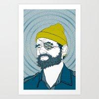steve zissou Art Prints featuring Steve Zissou by Chelsea Kepner