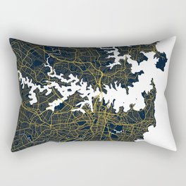 Sydney City Map of Australia - Gold Art Deco Rectangular Pillow