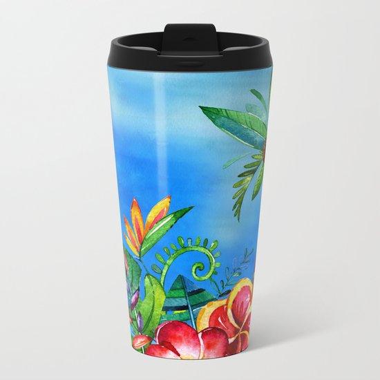 Exotic Colorful Flower Jungle - Aloha on #Society6 Metal Travel Mug