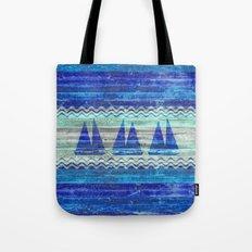 Rustic Navy Blue Coastal Decor Sailboats Tote Bag