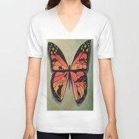 safari V-neck T-shirts featuring Butterfly safari by Art by Maricruz