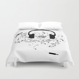 Headphones and Music Notes Duvet Cover