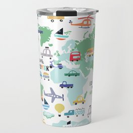 Travel The World Trains Planes Cars Trucks Map Travel Mug