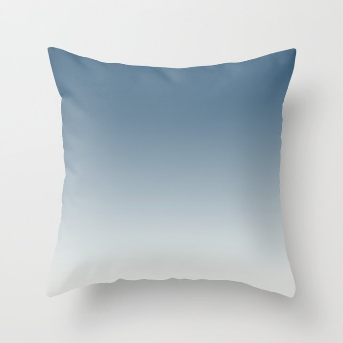Blue & Off White Gradient Ombre Blend Inspired by 2020 Color of the Year Chinese Porcelain PPG1160 Throw Pillow