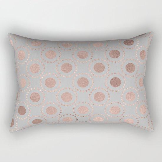 Rosegold pink metalfoil polkadots on grey backround 1 Rectangular Pillow