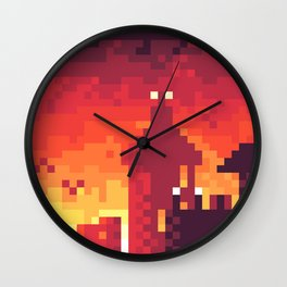 Pixel Town at Sundown Wall Clock