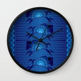 Buffalo Running (Blue) Wall Clock