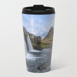 Waterfall Cascade Kirkjufell Mountain Iceland Travel Mug