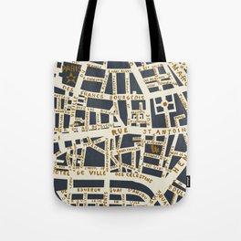 PARIS MAP GREY GOLD Tote Bag
