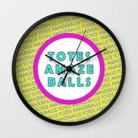 totes Wall Clocks featuring Totes Amazeballs! by missmim