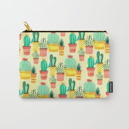 Hello! Colorful Watercolor Cactus and Succulent in Patterned Planters Carry-All Pouch
