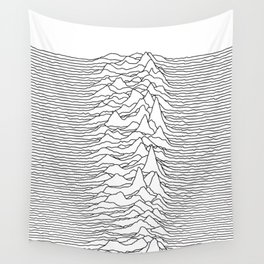 Unknown Pleasures - White Wall Tapestry