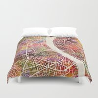 budapest hotel Duvet Covers featuring Budapest  by MapMapMaps.Watercolors