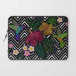 Hummingbird around flower plumeria hibiscus Frangipani exotic  Embroidery Laptop Sleeve