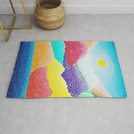 The Creation Of The Mountains by God in Jewel Tones landscape painting by Ariel Chavarro Avila Rug