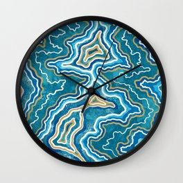 Blue Gold Graphic Agate Wall Clock