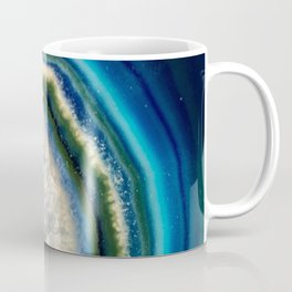 Blue Teal Agate Slice Crystal Stone Vibrant Said to assist you with adapting to change Coffee Mug