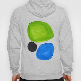 Mid Century Vintage Abstract Minimalist Colorful Pop Art Lime Green Phthalo Blue Black Bubbles Hoody