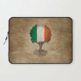Vintage Tree of Life with Flag of Ireland Laptop Sleeve
