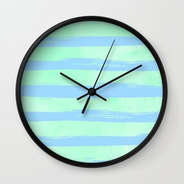 Trendy Stripes Blue Raspberry + Mint Meringue Wall Clock