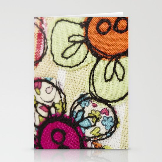 Embroidered Flowers Green Stationery Cards