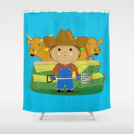 Rancher Dude With Cattle (Kawaii Style) Shower Curtain