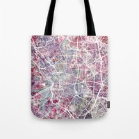 madrid Tote Bags featuring Madrid map by MapMapMaps.Watercolors