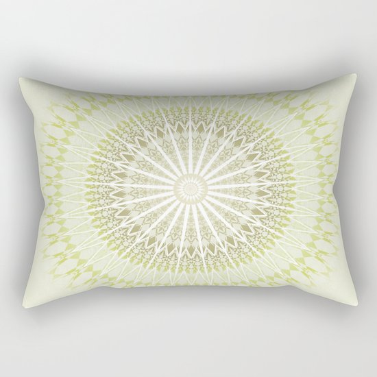Olive Green White Mandala Rectangular Pillow