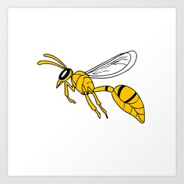 Wasp Flying Drawing Art Print
