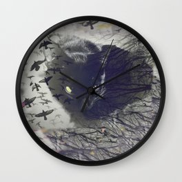 spooky cat with ravens Wall Clock