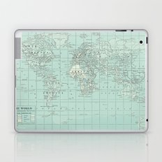 Vintage World Map in Soft Teal Laptop & iPad Skin