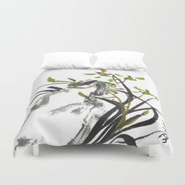 Green Orchid One Duvet Cover
