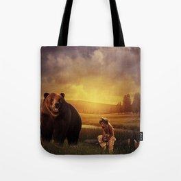 Native american boy and the bear Tote Bag
