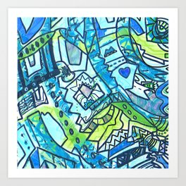 Spring time geometric abstract drawing Art Print