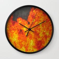 Fire on pixel (watercolor) Wall Clock