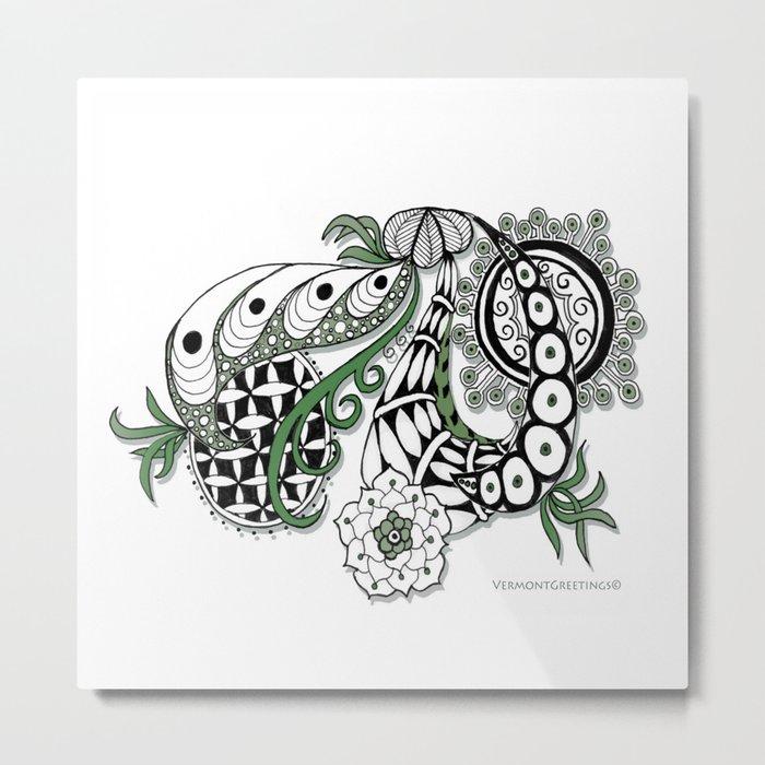 Zentangle Design - Black, White and Sage Illustration Metal Print
