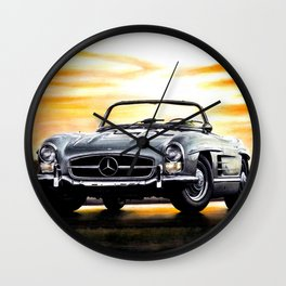 CLASSIC SL300 ROADSTER IN SILVER DURING SUNSET Wall Clock