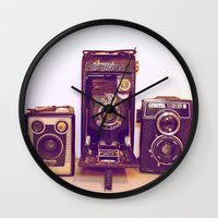 cameras Wall Clocks featuring Vintage Cameras by D C Cash