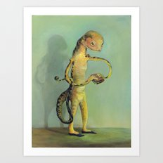 Lizard with Sandwich Art Print