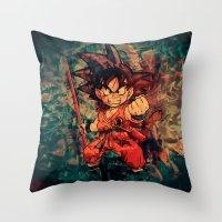 goku Throw Pillows featuring Kid Goku by Sirenphotos