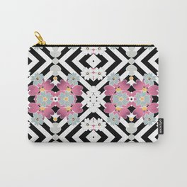 Colorful floral pattern on a striped background . Carry-All Pouch