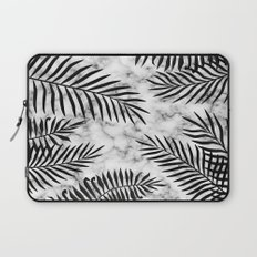 Black palm leaves on marble Laptop Sleeve