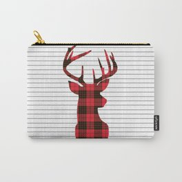 Plaid Deer Head on Minimal Stripes Carry-All Pouch