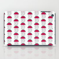 vegetarian iPad Cases featuring Watermelon - modern fruit summer citrus vegan vegetarian juicing cleanse art print dorm decor by CharlotteWinter